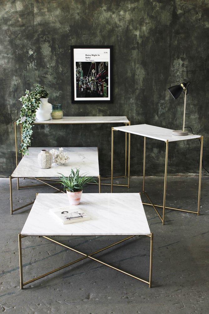 Mesas de centro muebles de herreria con marmol
